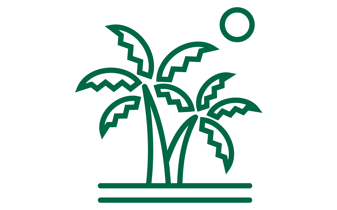 Line drawing of palms on an island with the sun in the background.