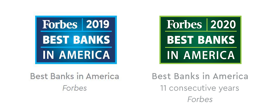 Forbes 2019 and 2020 Best Banks in America Award