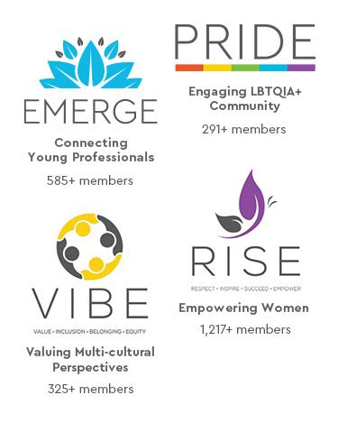 EMERGE, PRIDE, VIBE, RISE logos