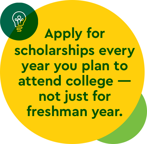 Apply for scholarships every year you plan to attend college—not just for freshman year.