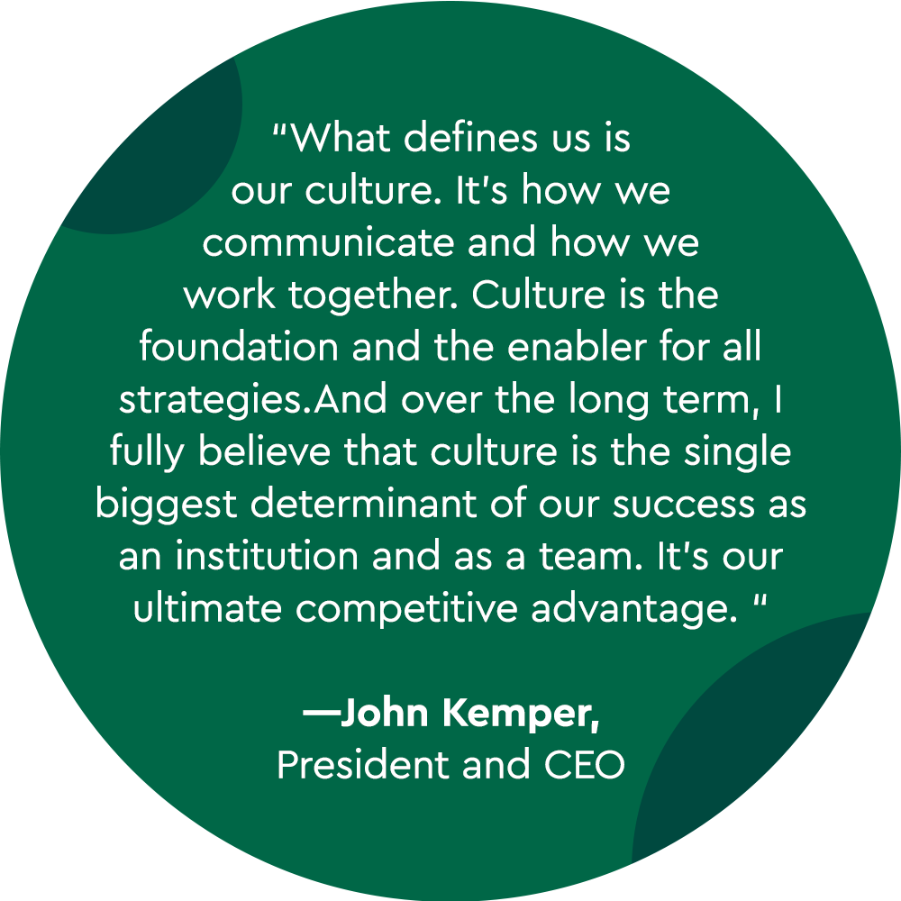 """What defines us is our culture. It's how we communicate and how we work together.  Culture is the foundation and the enabler for all strategies. And over the long term, I fully believe that culture is the single biggest determinant of our success as an institution and as a team.  It's our ultimate competitive advantage. "" —John Kemper, President and CEO"