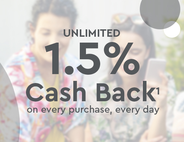 Unlimited 1.5% Cash Back on every purchase, every day