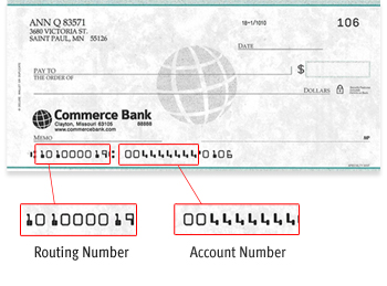 Example check showing where the Commerce Bank Routing number is on the check