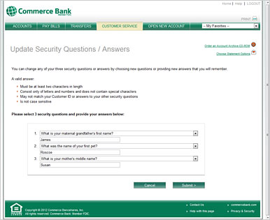 screenshot of our security questions