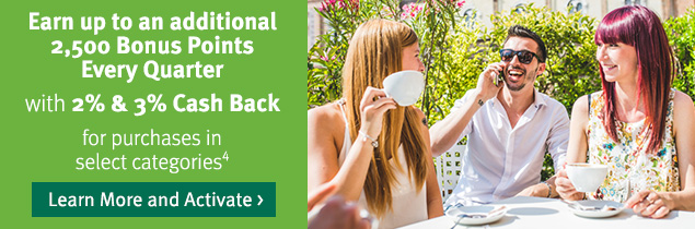 Earn 2500 bonus points with 2% & 3% cash back