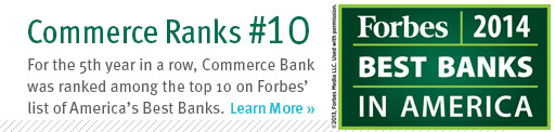 Commerce Bank is ranked tennth.