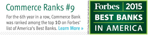 Commerce Bank is ranked ninth.